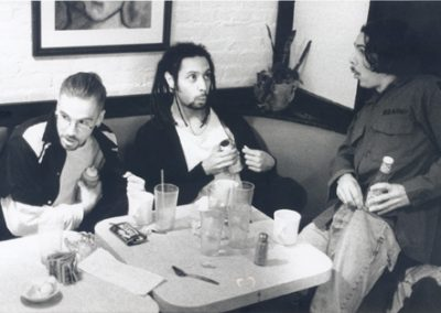 Red Eye 9 photo shoot. Robbing condiments from the Bauhaus Cafe, Boston, MA. 1995.