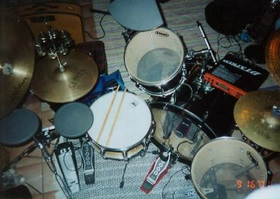 My Pearl acoustic-electro kit, used for Annette Farrington gigs, early 2000s