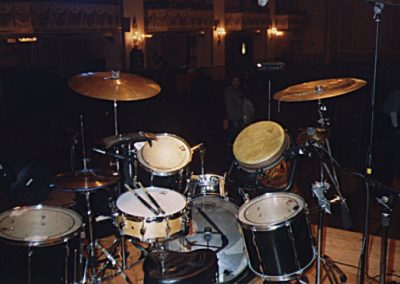 My Pearl kit w/percussion, used for Reflecting Skin gigs, early 2000s