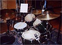 My Pearl 5-pc kit, used for studio etc, early 2000s